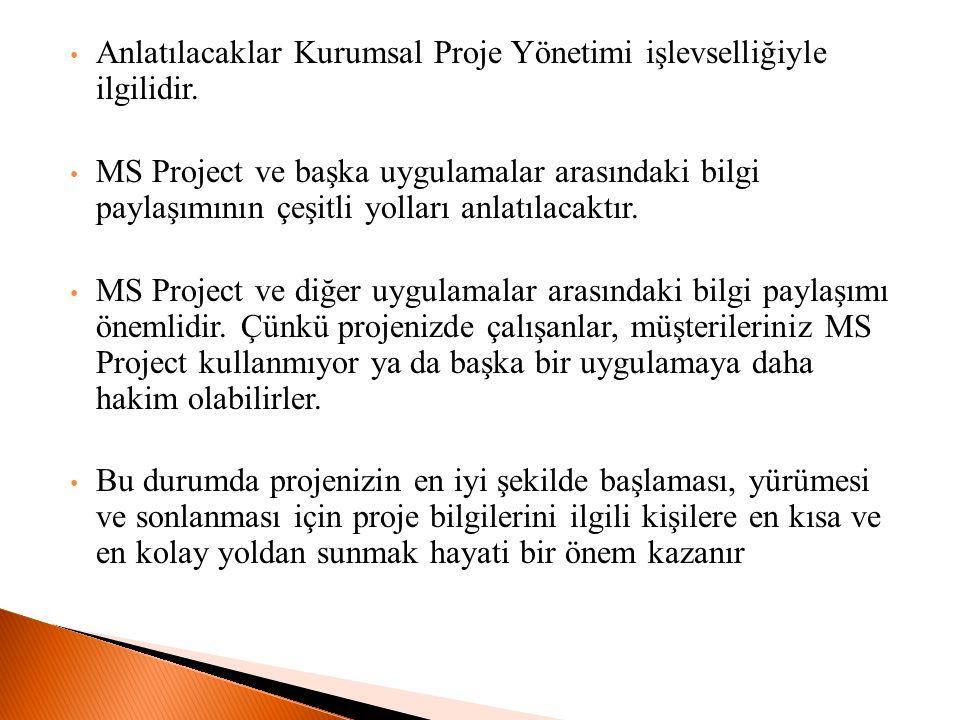 Anlatılacaklar Kurumsal Proje Yönetimi işlevselliğiyle ilgilidir. MS Project ve başka uygulamalar arasındaki bilgi paylaşımının çeşitli yolları anlatı
