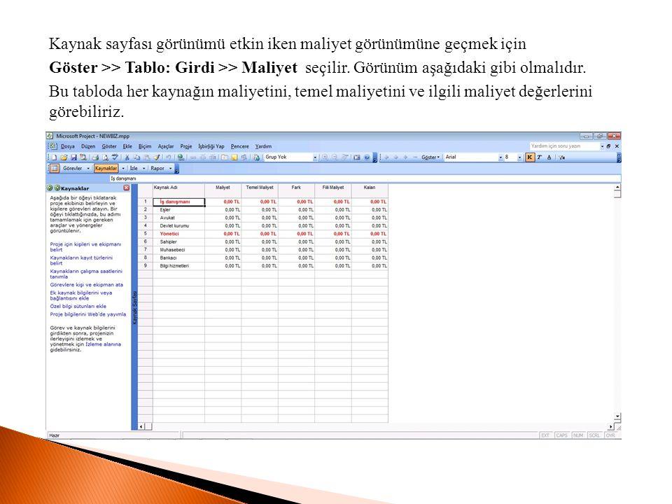 Kaynak sayfası görünümü etkin iken maliyet görünümüne geçmek için Göster >> Tablo: Girdi >> Maliyet seçilir.