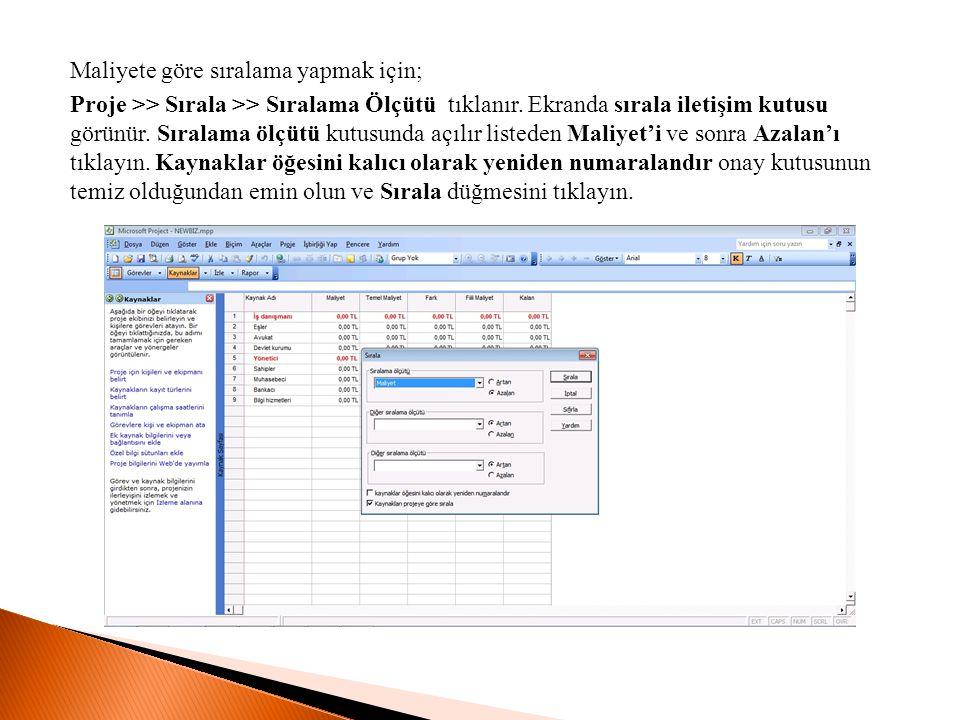 Maliyete göre sıralama yapmak için; Proje >> Sırala >> Sıralama Ölçütü tıklanır. Ekranda sırala iletişim kutusu görünür. Sıralama ölçütü kutusunda açı