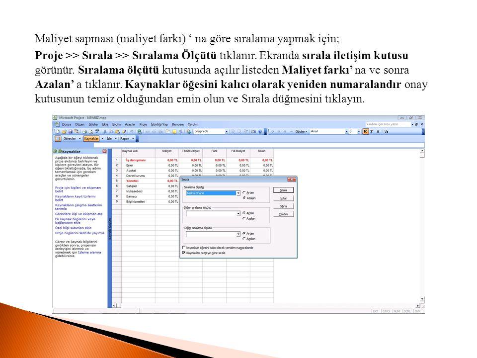 Maliyet sapması (maliyet farkı) ' na göre sıralama yapmak için; Proje >> Sırala >> Sıralama Ölçütü tıklanır. Ekranda sırala iletişim kutusu görünür. S