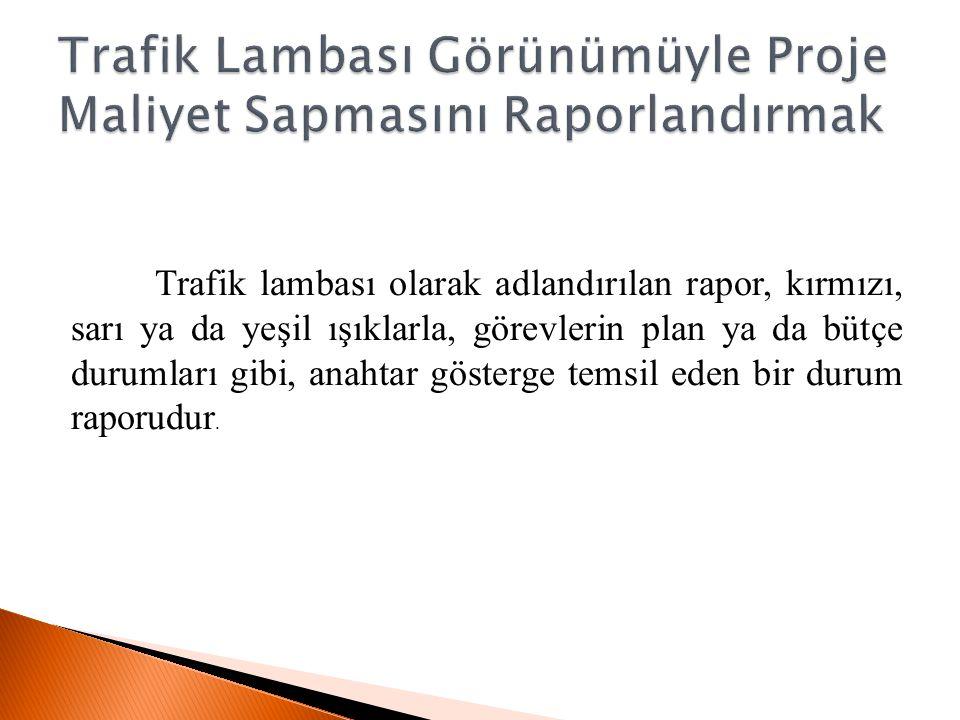 Trafik lambası olarak adlandırılan rapor, kırmızı, sarı ya da yeşil ışıklarla, görevlerin plan ya da bütçe durumları gibi, anahtar gösterge temsil ede