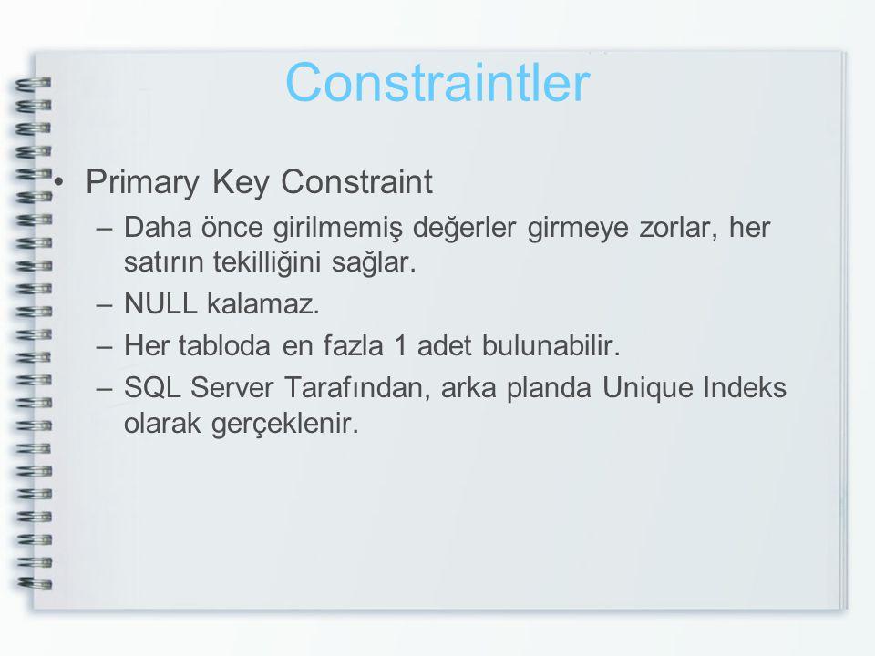 Constraintler Primary Key Constraint –Daha önce girilmemiş değerler girmeye zorlar, her satırın tekilliğini sağlar. –NULL kalamaz. –Her tabloda en faz