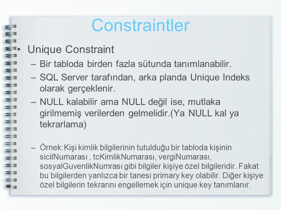 Constraintler Unique Constraint –Bir tabloda birden fazla sütunda tanımlanabilir. –SQL Server tarafından, arka planda Unique Indeks olarak gerçeklenir