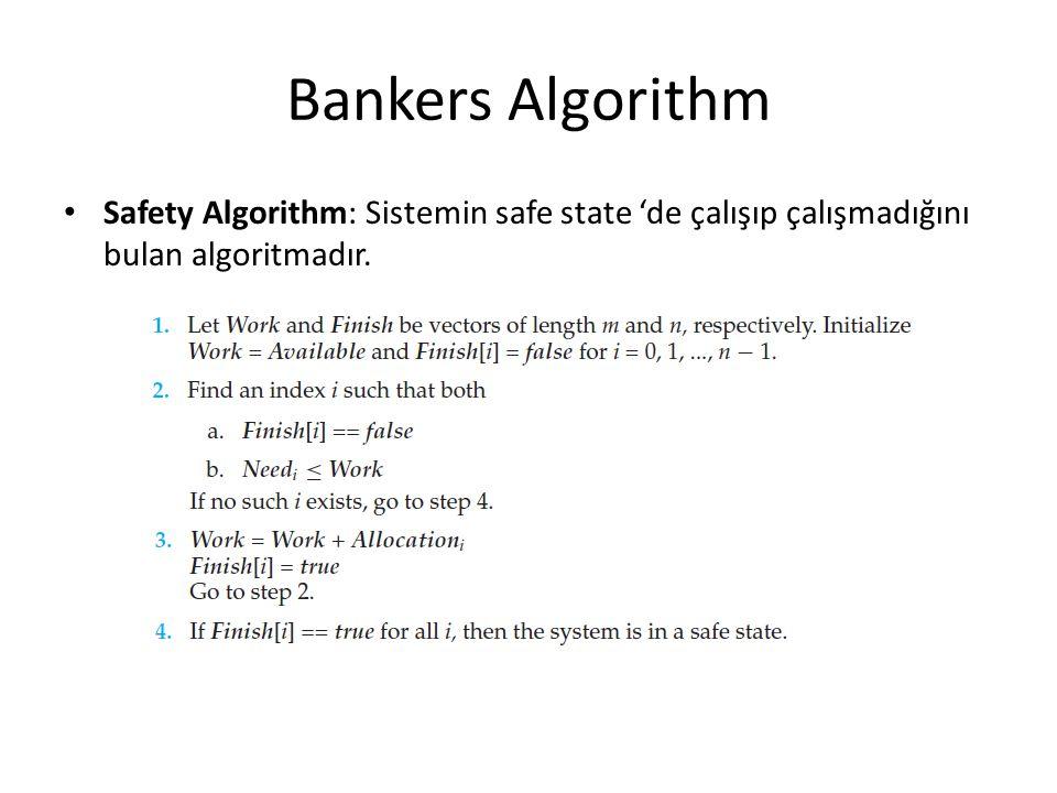 Bankers Algorithm Safety Algorithm: Sistemin safe state 'de çalışıp çalışmadığını bulan algoritmadır.