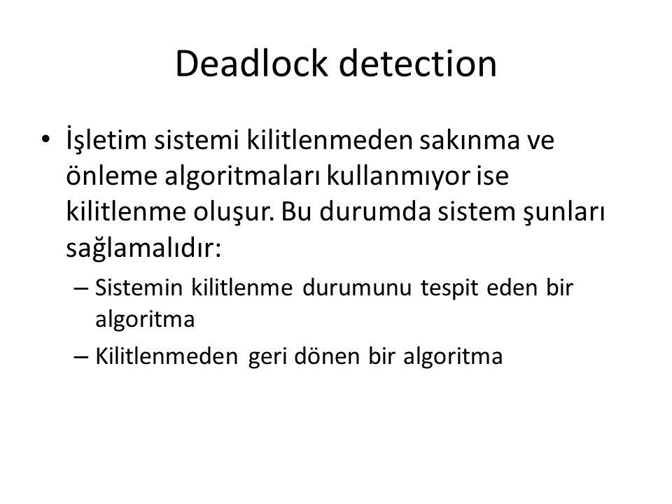 Deadlock detection İşletim sistemi kilitlenmeden sakınma ve önleme algoritmaları kullanmıyor ise kilitlenme oluşur. Bu durumda sistem şunları sağlamal