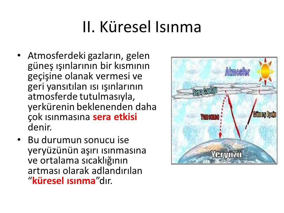 II. Küresel Isınma Atmosferdeki gazların, gelen güneş ışınlarının bir kısmının geçişine olanak vermesi ve geri yansıtılan ısı ışınlarının atmosferde t