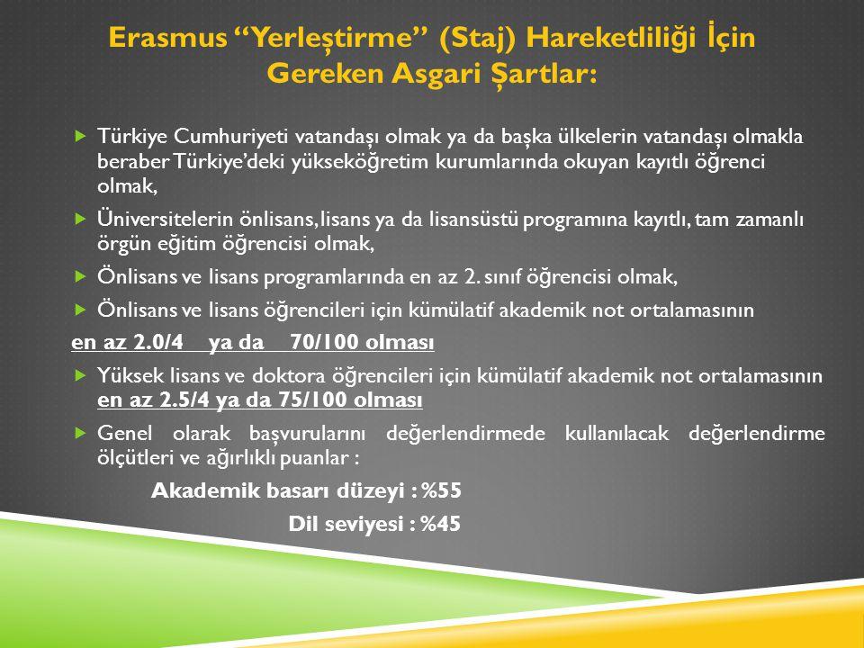 Erasmus Yerleştirme (Staj) Hareketlili ğ i İ çin Gereken Asgari Şartlar:  Türkiye Cumhuriyeti vatandaşı olmak ya da başka ülkelerin vatandaşı olmakla beraber Türkiye'deki yüksekö ğ retim kurumlarında okuyan kayıtlı ö ğ renci olmak,  Üniversitelerin önlisans, lisans ya da lisansüstü programına kayıtlı, tam zamanlı örgün e ğ itim ö ğ rencisi olmak,  Önlisans ve lisans programlarında en az 2.