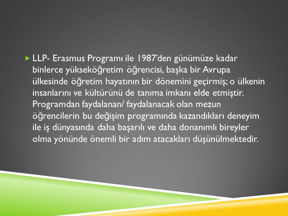  LLP- Erasmus Programı ile 1987'den günümüze kadar binlerce yüksekö ğ retim ö ğ rencisi, başka bir Avrupa ülkesinde ö ğ retim hayatının bir dönemini geçirmiş; o ülkenin insanlarını ve kültürünü de tanıma imkanı elde etmiştir.