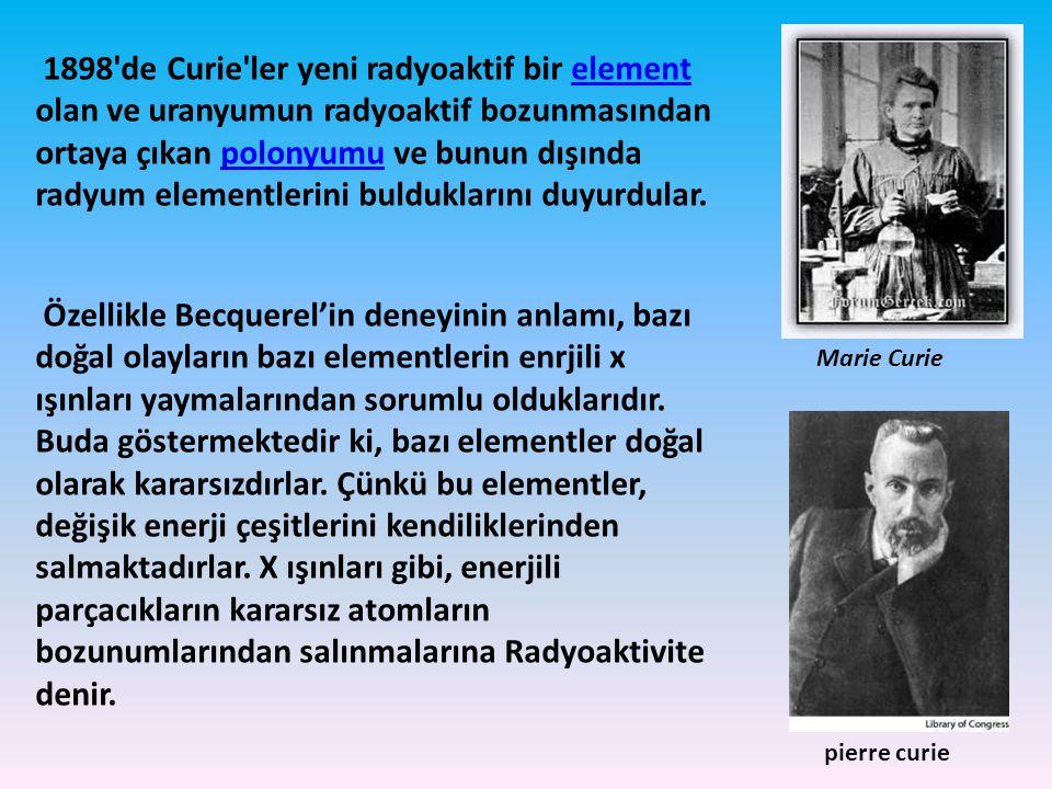 1898'de Curie'ler yeni radyoaktif bir element olan ve uranyumun radyoaktif bozunmasından ortaya çıkan polonyumu ve bunun dışında radyum elementlerini
