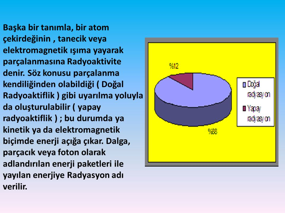 Başka bir tanımla, bir atom çekirdeğinin, tanecik veya elektromagnetik ışıma yayarak parçalanmasına Radyoaktivite denir. Söz konusu parçalanma kendili