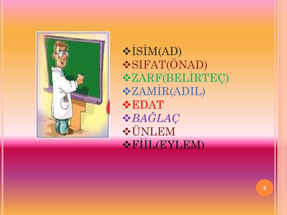 13 d)Soru Sıfatı:Varlıkların,kavramların nicel ve nitel özellikleri hakkında Bilgi edinmek için kullandığımız sözcüklerdir.