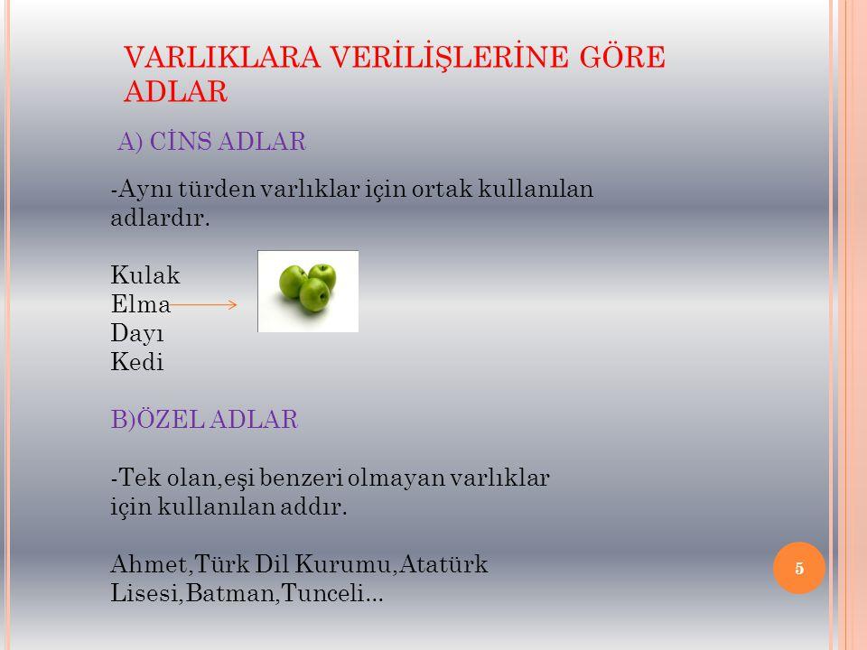 5 VARLIKLARA VERİLİŞLERİNE GÖRE ADLAR A) CİNS ADLAR -Aynı türden varlıklar için ortak kullanılan adlardır. Kulak Elma Dayı Kedi B)ÖZEL ADLAR -Tek olan