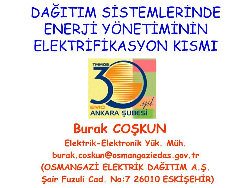 DAĞITIM SİSTEMLERİNDE ENERJİ YÖNETİMİNİN ELEKTRİFİKASYON KISMI Burak COŞKUN Elektrik-Elektronik Yük. Müh. burak.coskun@osmangaziedas.gov.tr (OSMANGAZİ