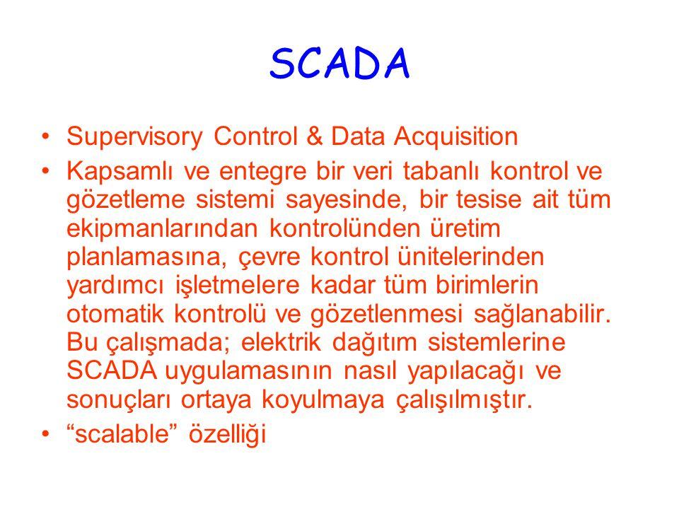 SCADA Supervisory Control & Data Acquisition Kapsamlı ve entegre bir veri tabanlı kontrol ve gözetleme sistemi sayesinde, bir tesise ait tüm ekipmanlarından kontrolünden üretim planlamasına, çevre kontrol ünitelerinden yardımcı işletmelere kadar tüm birimlerin otomatik kontrolü ve gözetlenmesi sağlanabilir.