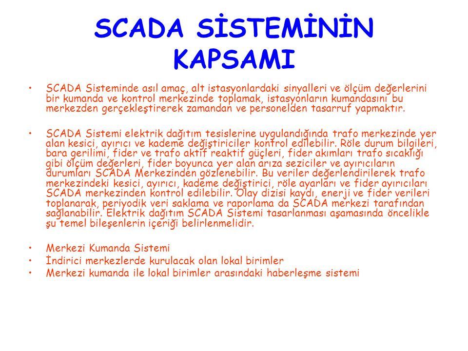 SCADA SİSTEMİNİN KAPSAMI SCADA Sisteminde asıl amaç, alt istasyonlardaki sinyalleri ve ölçüm değerlerini bir kumanda ve kontrol merkezinde toplamak, i
