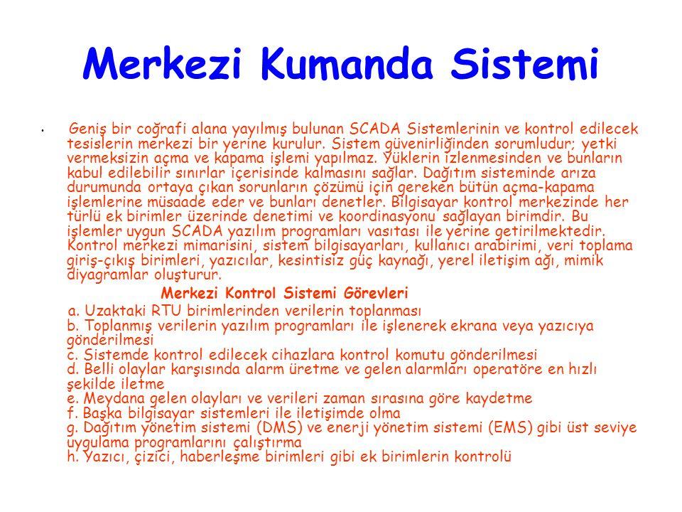 Merkezi Kumanda Sistemi Geniş bir coğrafi alana yayılmış bulunan SCADA Sistemlerinin ve kontrol edilecek tesislerin merkezi bir yerine kurulur. Sistem