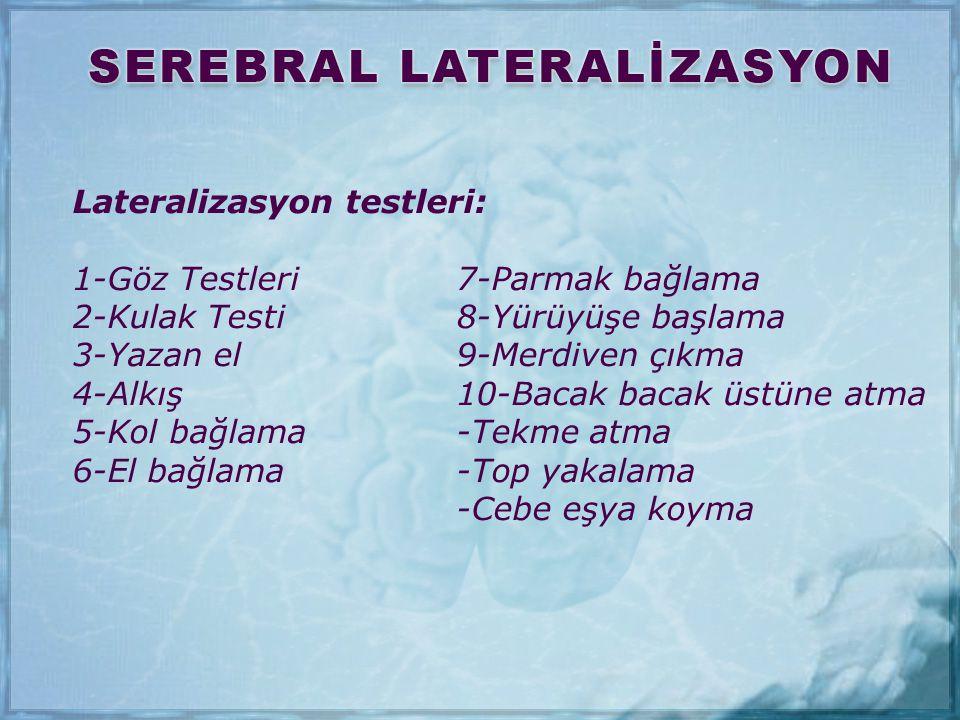 Lateralizasyon testleri: 1-Göz Testleri7-Parmak bağlama 2-Kulak Testi8-Yürüyüşe başlama 3-Yazan el9-Merdiven çıkma 4-Alkış10-Bacak bacak üstüne atma 5