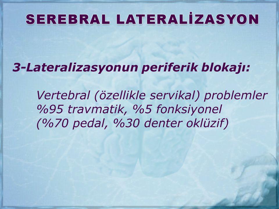 3-Lateralizasyonun periferik blokajı: Vertebral (özellikle servikal) problemler %95 travmatik, %5 fonksiyonel (%70 pedal, %30 denter oklüzif)