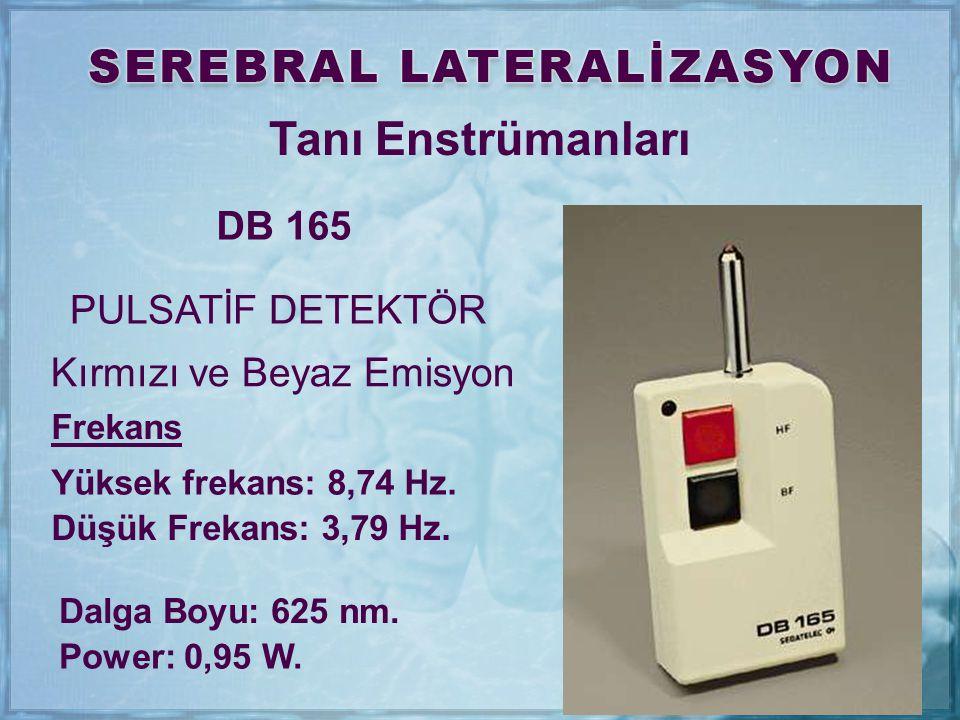 Tanı Enstrümanları DB 165 PULSATİF DETEKTÖR Frekans Yüksek frekans: 8,74 Hz. Düşük Frekans: 3,79 Hz. Dalga Boyu: 625 nm. Power: 0,95 W. Kırmızı ve Bey