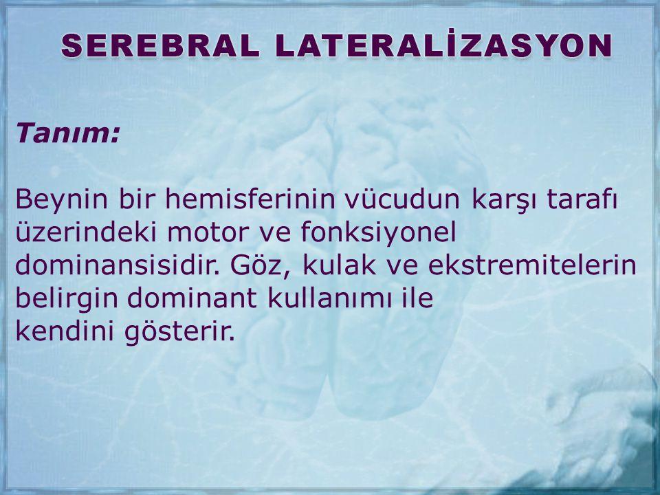 Tanım: Beynin bir hemisferinin vücudun karşı tarafı üzerindeki motor ve fonksiyonel dominansisidir. Göz, kulak ve ekstremitelerin belirgin dominant ku