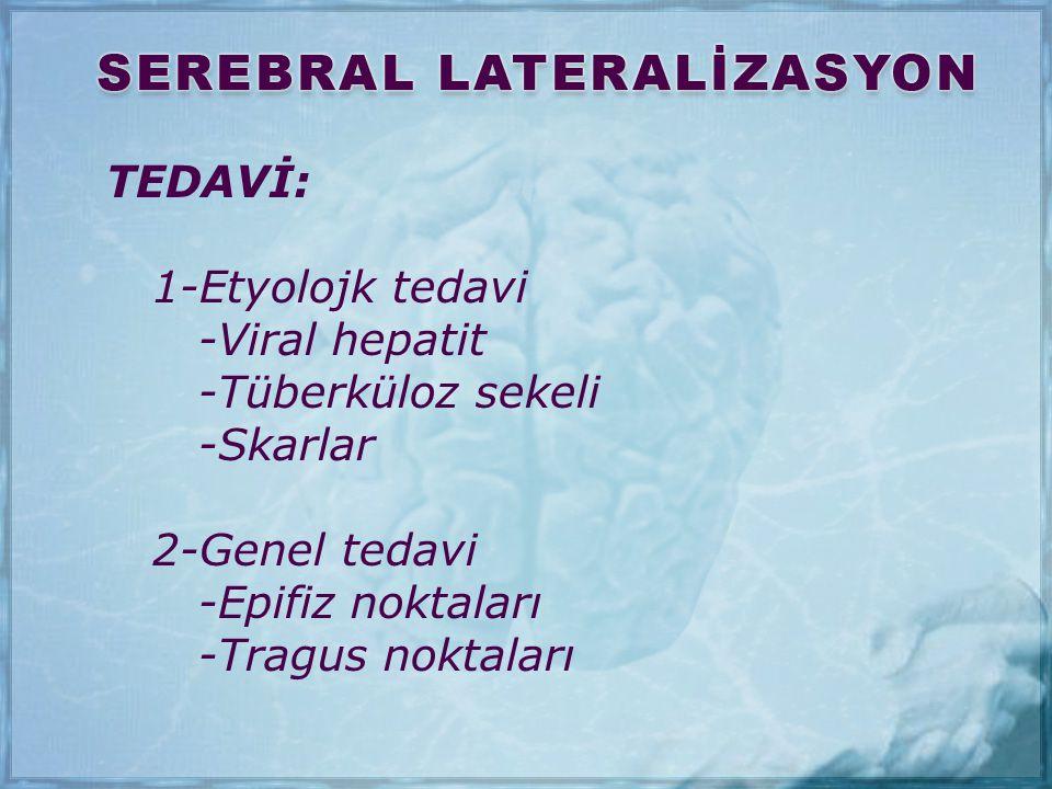 TEDAVİ: 1-Etyolojk tedavi -Viral hepatit -Tüberküloz sekeli -Skarlar 2-Genel tedavi -Epifiz noktaları -Tragus noktaları