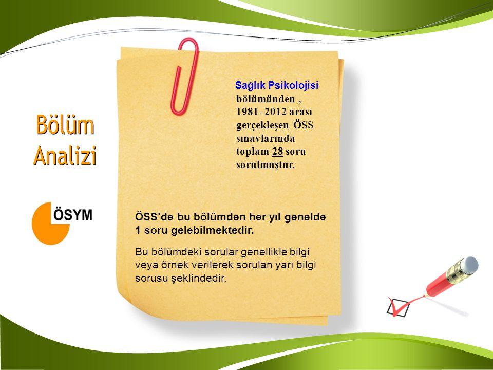 Sağlık Psikolojisi bölümünden, 1981- 2012 arası gerçekleşen ÖSS sınavlarında toplam 28 soru sorulmuştur. ÖSS'de bu bölümden her yıl genelde 1 soru gel