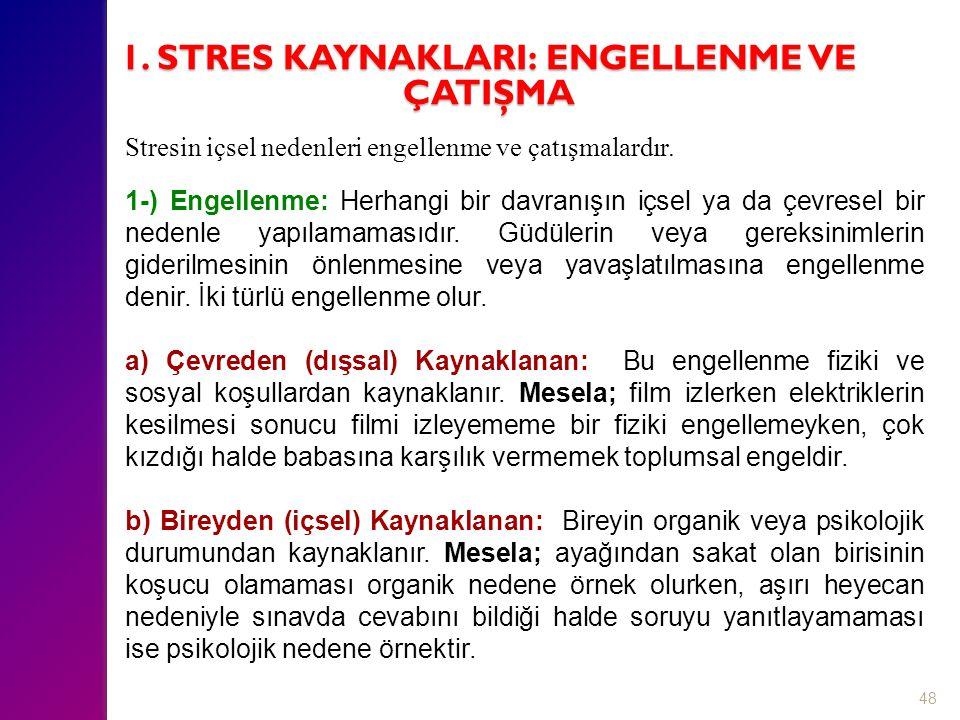 48 Stresin içsel nedenleri engellenme ve çatışmalardır. 1-) Engellenme: Herhangi bir davranışın içsel ya da çevresel bir nedenle yapılamamasıdır. Güdü