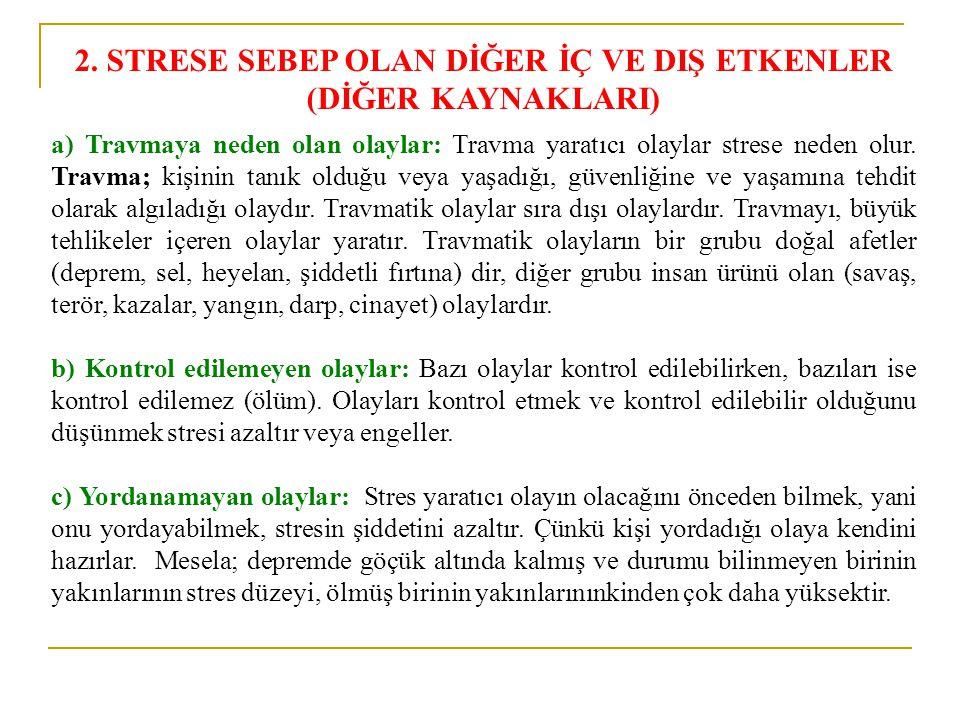 2. STRESE SEBEP OLAN DİĞER İÇ VE DIŞ ETKENLER (DİĞER KAYNAKLARI) a) Travmaya neden olan olaylar: Travma yaratıcı olaylar strese neden olur. Travma; ki