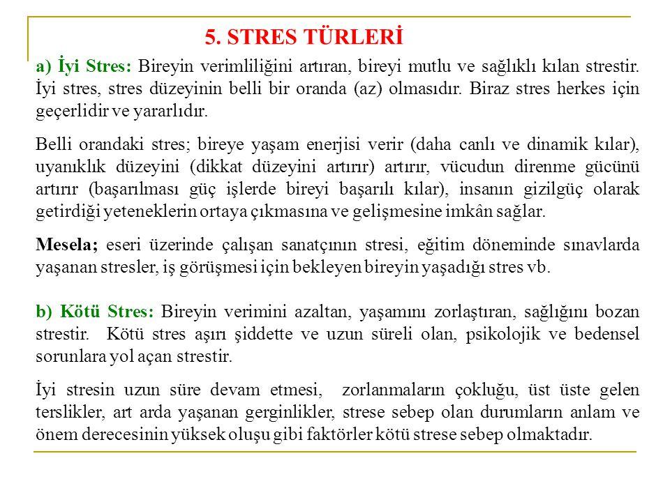 a) İyi Stres: Bireyin verimliliğini artıran, bireyi mutlu ve sağlıklı kılan strestir. İyi stres, stres düzeyinin belli bir oranda (az) olmasıdır. Bira