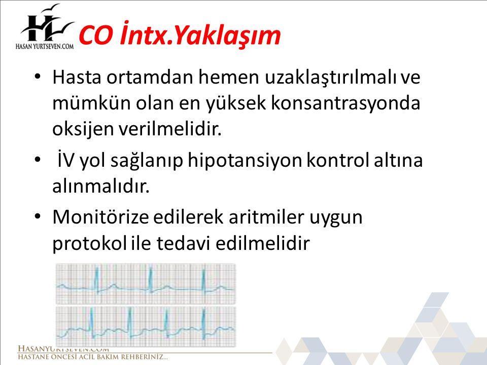 CO İntx.Yaklaşım Hasta ortamdan hemen uzaklaştırılmalı ve mümkün olan en yüksek konsantrasyonda oksijen verilmelidir. İV yol sağlanıp hipotansiyon kon