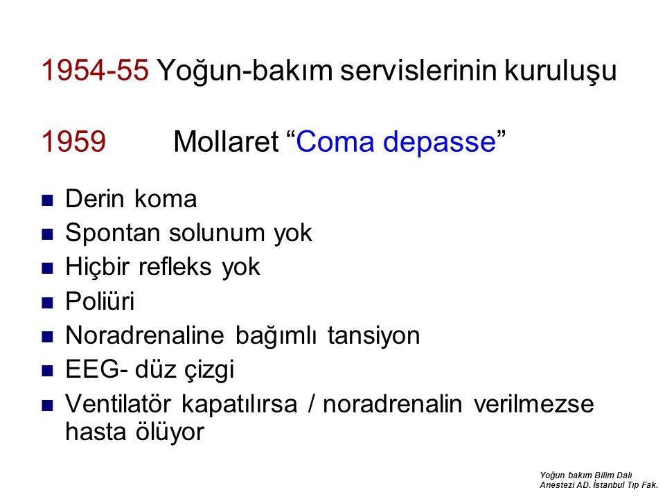"""Yoğun bakım Bilim Dalı Anestezi AD. İstanbul Tıp Fak. 1954-55 Yoğun-bakım servislerinin kuruluşu 1959 Mollaret """"Coma depasse"""" Derin koma Spontan solun"""