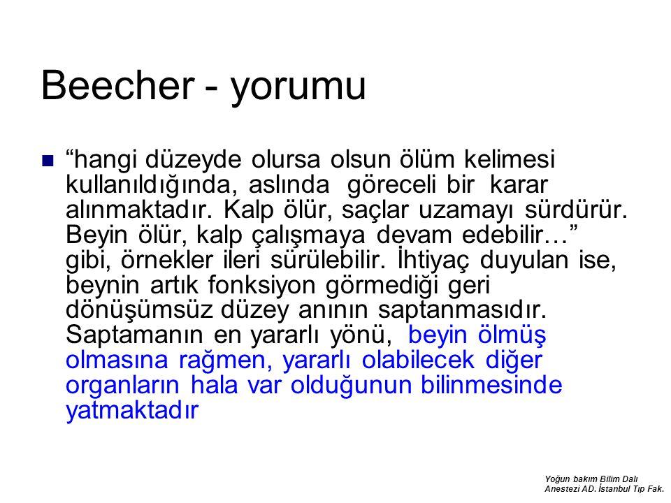 """Yoğun bakım Bilim Dalı Anestezi AD. İstanbul Tıp Fak. Beecher - yorumu """"hangi düzeyde olursa olsun ölüm kelimesi kullanıldığında, aslında göreceli bir"""