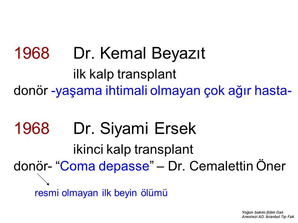 Yoğun bakım Bilim Dalı Anestezi AD. İstanbul Tıp Fak. 1968 Dr. Kemal Beyazıt ilk kalp transplant donör -yaşama ihtimali olmayan çok ağır hasta- 1968 D
