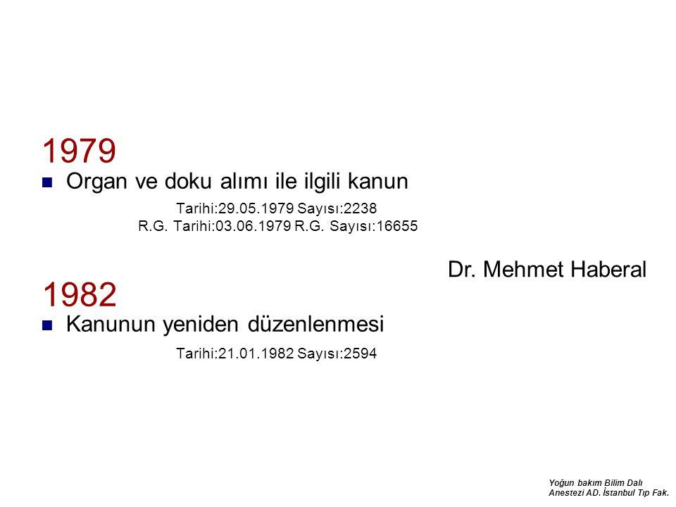 Yoğun bakım Bilim Dalı Anestezi AD. İstanbul Tıp Fak. 1979 Organ ve doku alımı ile ilgili kanun Tarihi:29.05.1979 Sayısı:2238 R.G. Tarihi:03.06.1979 R
