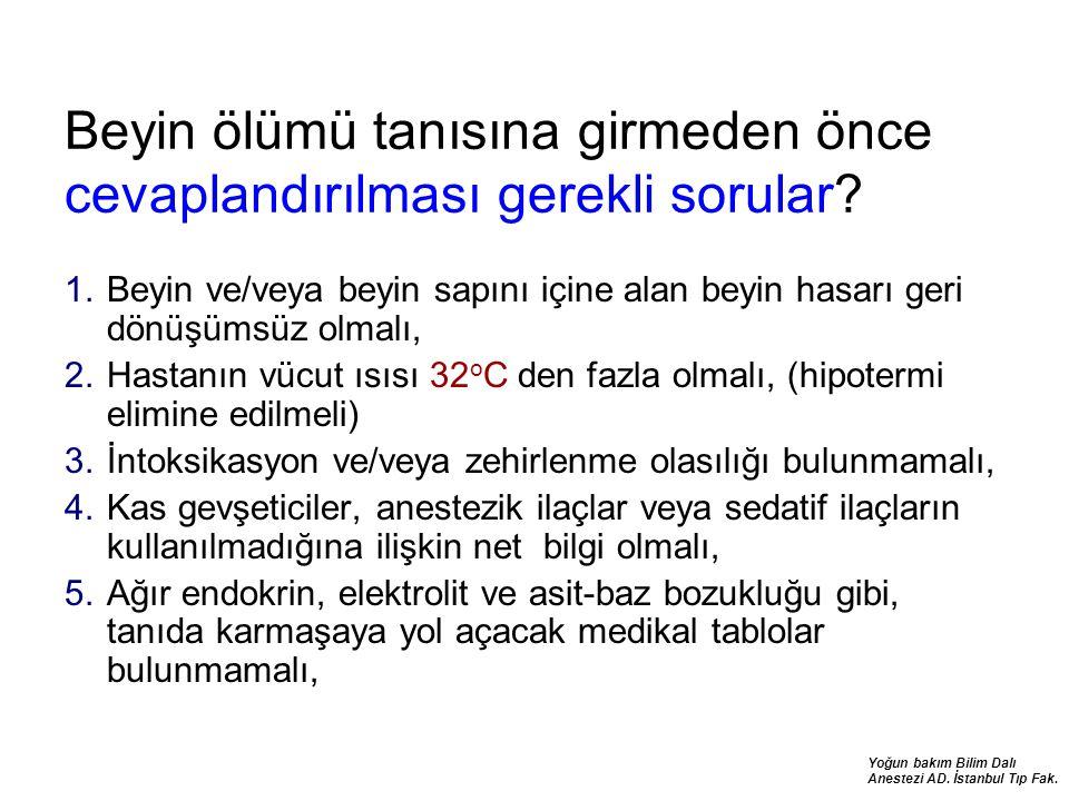 Yoğun bakım Bilim Dalı Anestezi AD. İstanbul Tıp Fak. Beyin ölümü tanısına girmeden önce cevaplandırılması gerekli sorular? 1.Beyin ve/veya beyin sapı