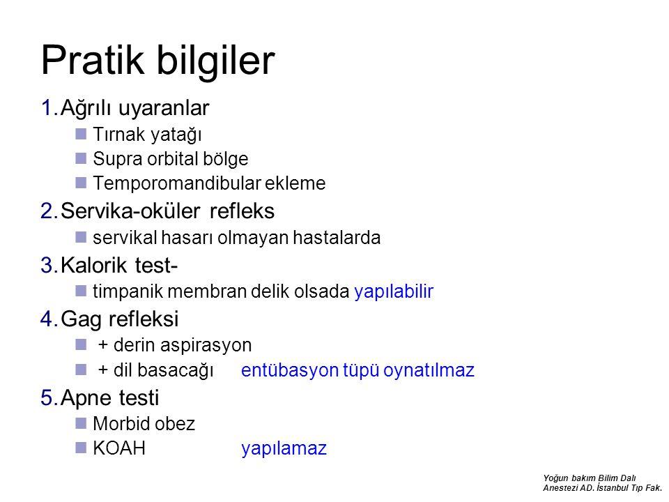 Yoğun bakım Bilim Dalı Anestezi AD. İstanbul Tıp Fak. Pratik bilgiler 1.Ağrılı uyaranlar Tırnak yatağı Supra orbital bölge Temporomandibular ekleme 2.