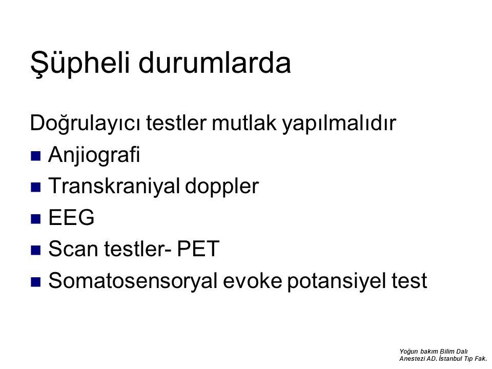 Yoğun bakım Bilim Dalı Anestezi AD. İstanbul Tıp Fak. Şüpheli durumlarda Doğrulayıcı testler mutlak yapılmalıdır Anjiografi Transkraniyal doppler EEG