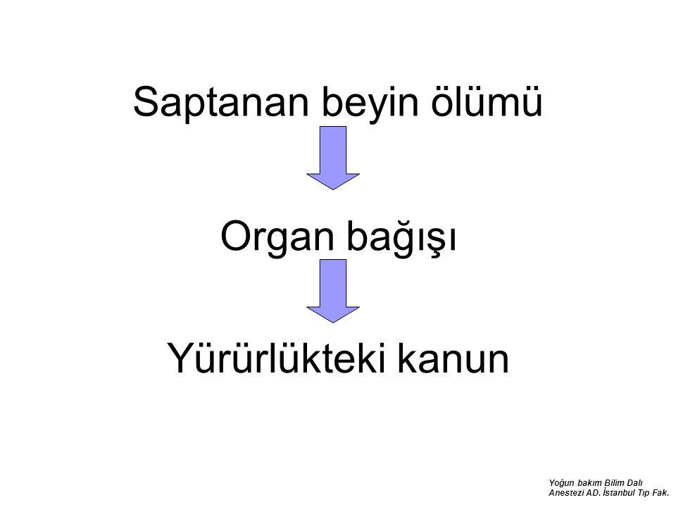Yoğun bakım Bilim Dalı Anestezi AD. İstanbul Tıp Fak. Saptanan beyin ölümü Organ bağışı Yürürlükteki kanun