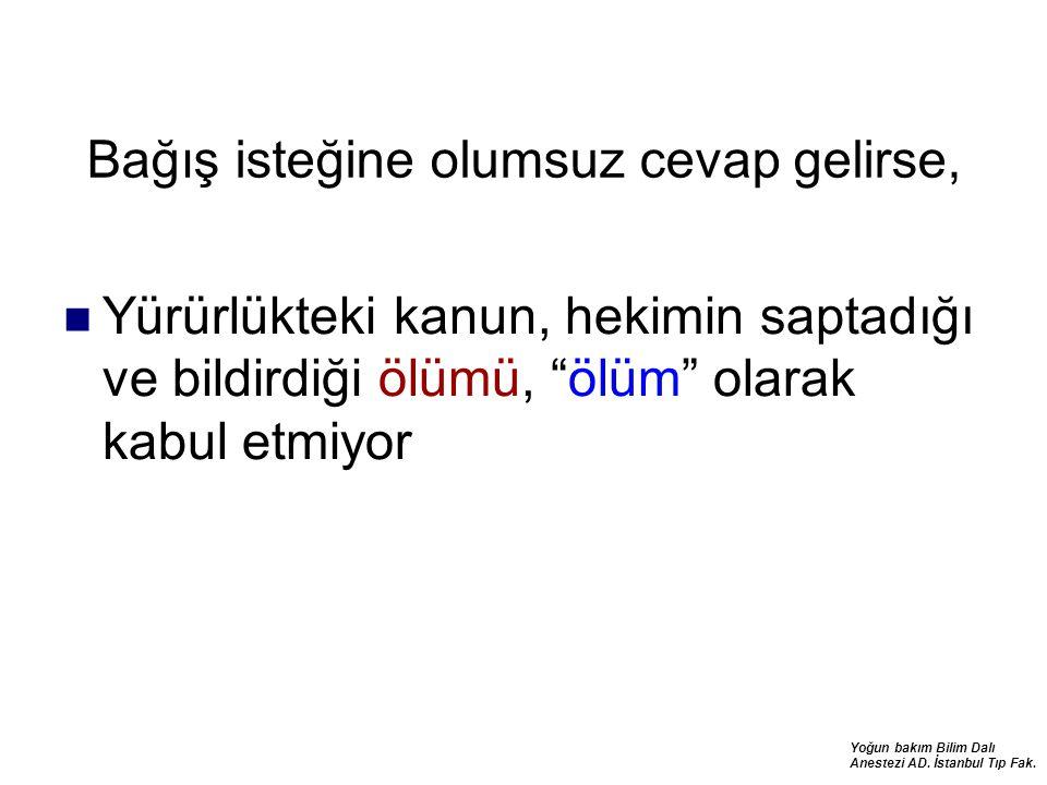 Yoğun bakım Bilim Dalı Anestezi AD. İstanbul Tıp Fak. Bağış isteğine olumsuz cevap gelirse, Yürürlükteki kanun, hekimin saptadığı ve bildirdiği ölümü,