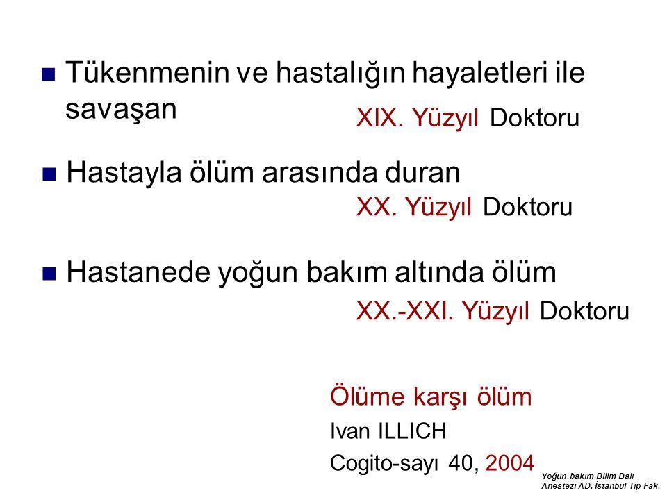 Yoğun bakım Bilim Dalı Anestezi AD. İstanbul Tıp Fak. Tükenmenin ve hastalığın hayaletleri ile savaşan Hastayla ölüm arasında duran XIX. Yüzyıl Doktor