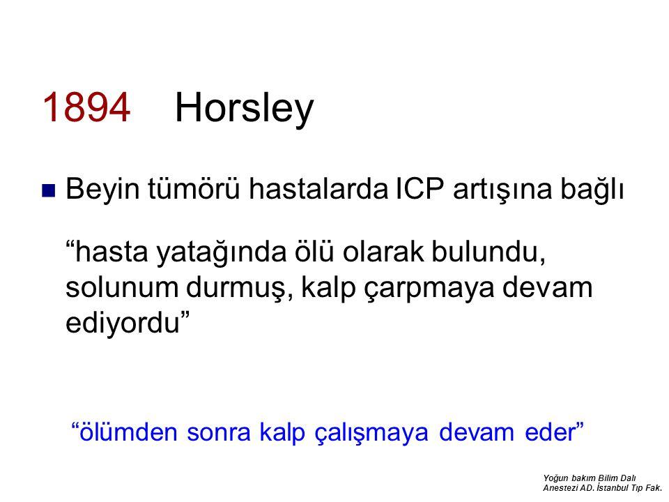 """Yoğun bakım Bilim Dalı Anestezi AD. İstanbul Tıp Fak. 1894 Horsley Beyin tümörü hastalarda ICP artışına bağlı """"hasta yatağında ölü olarak bulundu, sol"""
