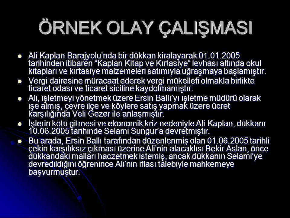ÖRNEK OLAY ÇALIŞMASI Ali Kaplan Barajyolu'nda bir dükkan kiralayarak 01.01.2005 tarihinden itibaren Kaplan Kitap ve Kırtasiye levhası altında okul kitapları ve kırtasiye malzemeleri satımıyla uğraşmaya başlamıştır.