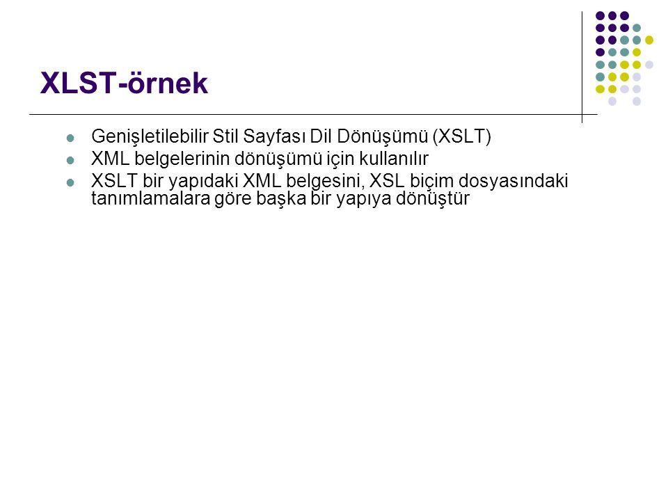 XLST-örnek Genişletilebilir Stil Sayfası Dil Dönüşümü (XSLT) XML belgelerinin dönüşümü için kullanılır XSLT bir yapıdaki XML belgesini, XSL biçim dosy