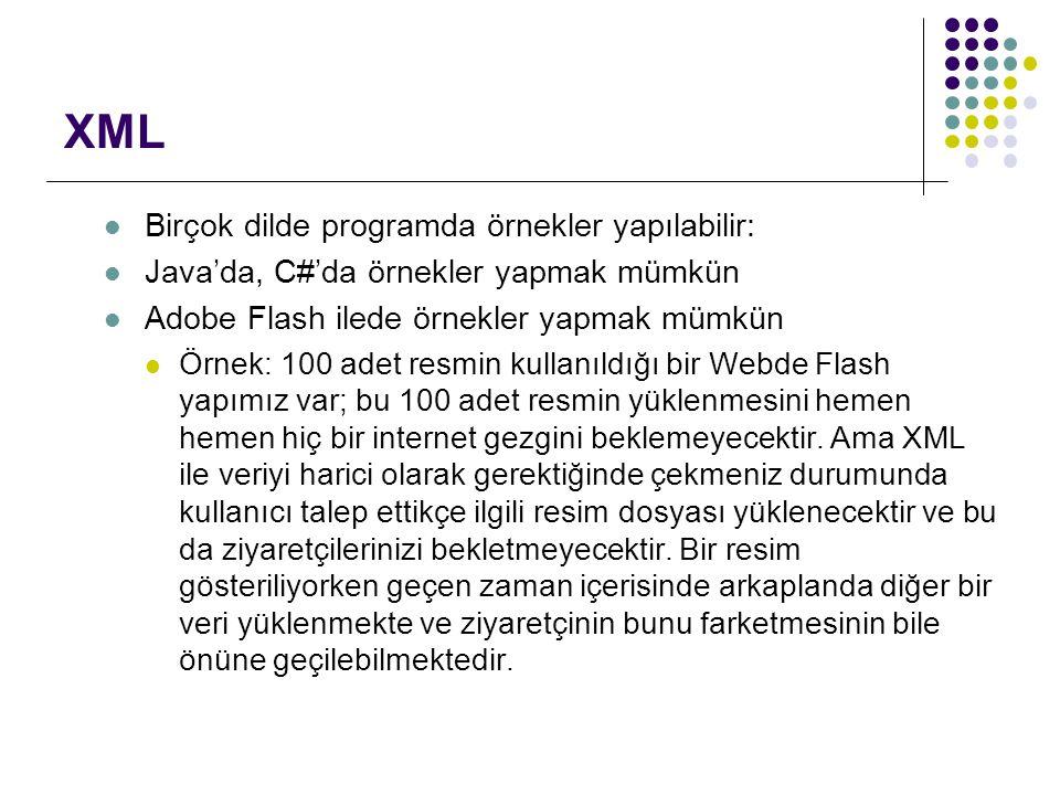 XML Birçok dilde programda örnekler yapılabilir: Java'da, C#'da örnekler yapmak mümkün Adobe Flash ilede örnekler yapmak mümkün Örnek: 100 adet resmin