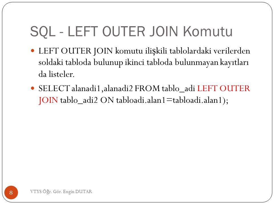 SQL - LEFT OUTER JOIN Komutu LEFT OUTER JOIN komutu ili ş kili tablolardaki verilerden soldaki tabloda bulunup ikinci tabloda bulunmayan kayıtları da listeler.