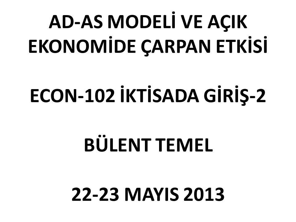 AD-AS MODELİ VE AÇIK EKONOMİDE ÇARPAN ETKİSİ ECON-102 İKTİSADA GİRİŞ-2 BÜLENT TEMEL 22-23 MAYIS 2013