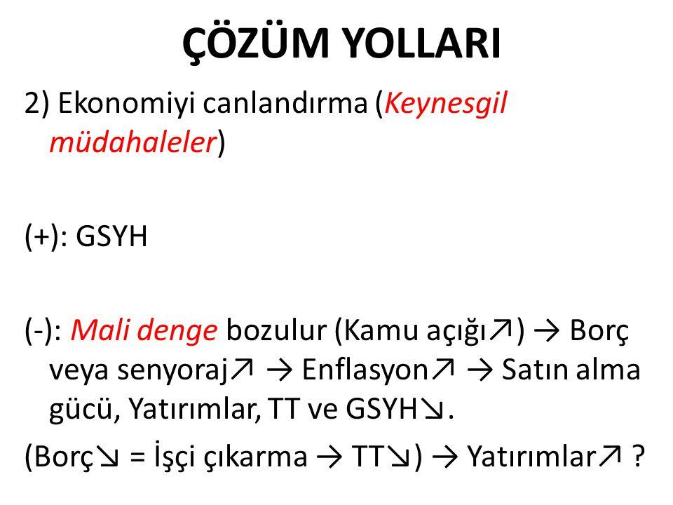 ÇÖZÜM YOLLARI 2) Ekonomiyi canlandırma (Keynesgil müdahaleler) (+): GSYH (-): Mali denge bozulur (Kamu açığı↗) → Borç veya senyoraj↗ → Enflasyon↗ → Sa