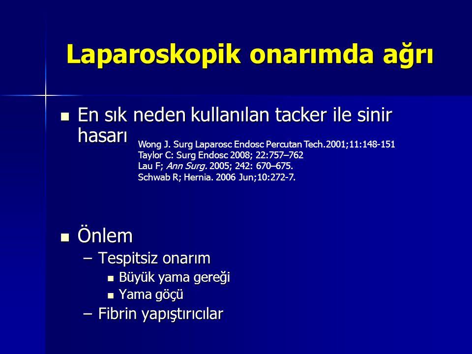 Laparoskopik onarımda ağrı En sık neden kullanılan tacker ile sinir hasarı En sık neden kullanılan tacker ile sinir hasarı Önlem Önlem –Tespitsiz onar