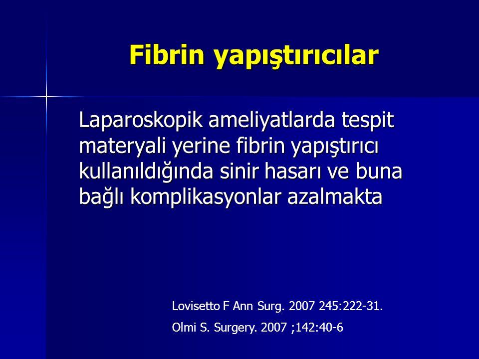 Fibrin yapıştırıcılar Laparoskopik ameliyatlarda tespit materyali yerine fibrin yapıştırıcı kullanıldığında sinir hasarı ve buna bağlı komplikasyonlar
