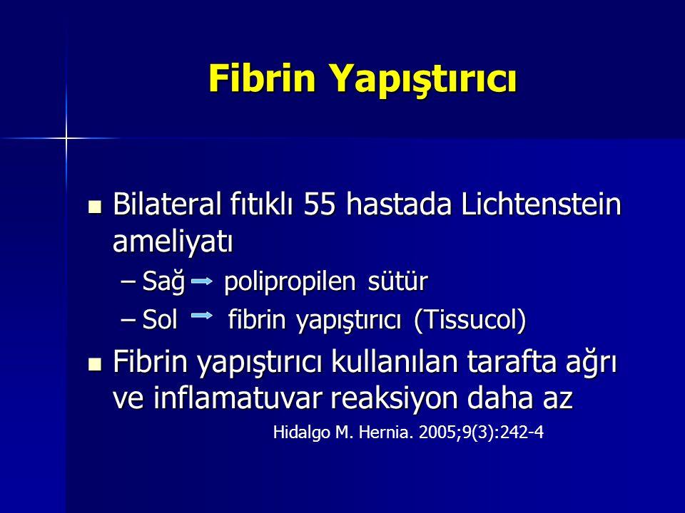 Fibrin Yapıştırıcı Bilateral fıtıklı 55 hastada Lichtenstein ameliyatı Bilateral fıtıklı 55 hastada Lichtenstein ameliyatı –Sağ polipropilen sütür –So